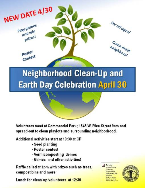 Neighborhood Clean-Up and Earth Day Celebration April 30