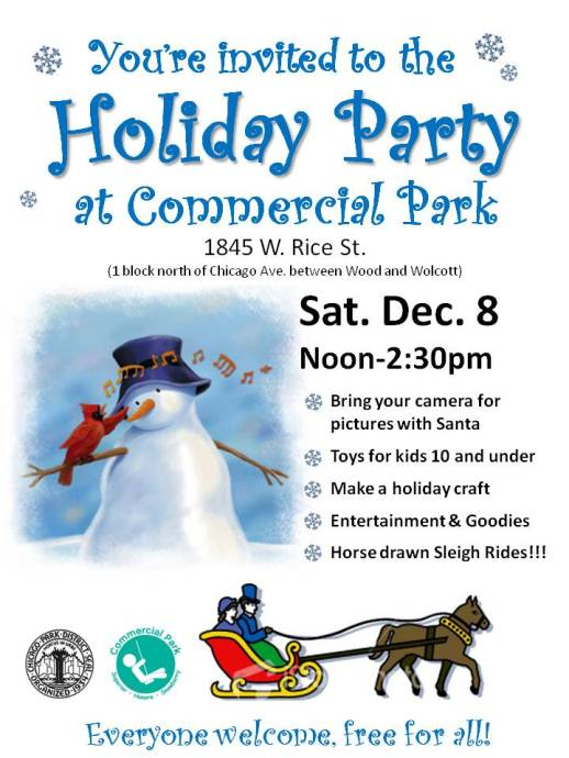 Holiday party at Commercial Park flyer