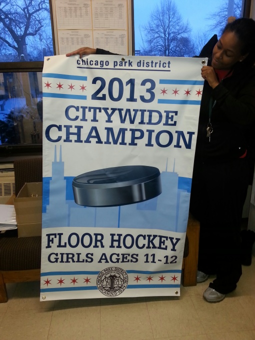 Girls floor hockey team, ages 11-12, wins city championship