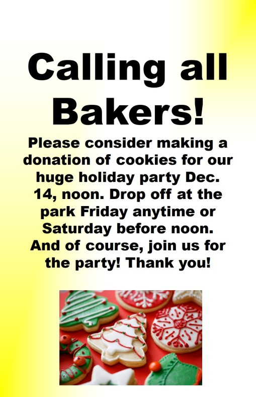 Calling all bakers (for Saturday's holiday party- please!)